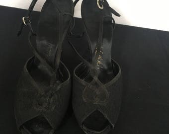 Vintage Black Sling Back Peep Toe with Rhinestone Clasp