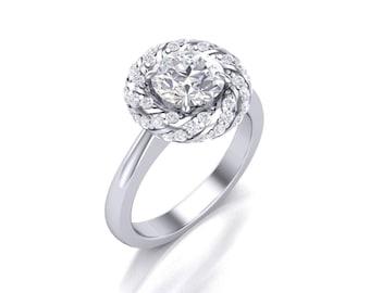 Round Cut Moissanite Diamond Halo Engagement Ring - Forever One Moissanite Halo Ring - Charles & Colvard 6.5mm Moissanite Diamond Ring