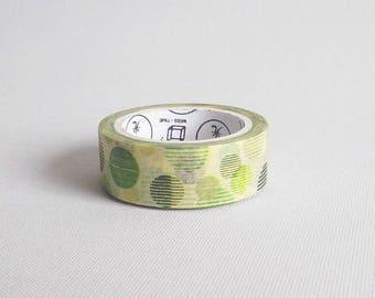 Washi tape vert, Washitape adhésif de masquage, Ruban washi vert, Ruban adhésif papier washi, Washi cercles, Washi géométrique