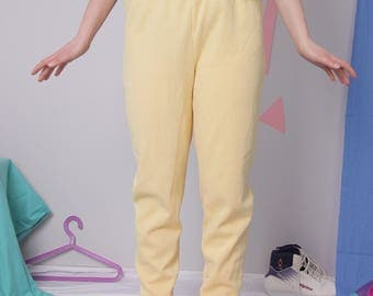 mustard relaxed pants size 42/44, yellow slouchy pants on elastic, vintage loungewear, soft comfortable pants trousers