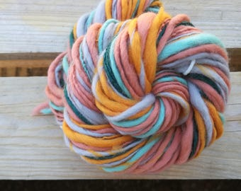 Handspun art yarn single ply - Weaving Tissage laine filée main