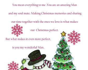 Man in my Life Christmas Card cute