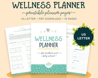Wellness Journal, US Letter Size Planner, Health Planner, Mental Health, Printable, Goal Planner, Daily Planner, Wellness Planner, Self Care