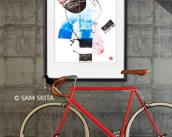 ORIGINAL artwork Abstract Painting HOME DECOR wall art acrylic, graphics, blue, red, black artwork Home art Contemporary Wall art home decor