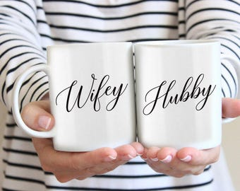 Mr and Mrs Mugs/Couple Mugs/Newly Engaged Gifts/Anniversary Gifts/Wifey Mug/Hubby Mug/Engagement Coffee Mug/Couple Gift Set/ wifey and hubby