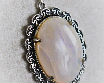 Large Moonstone Pendant Necklace