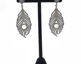 Rainbow moonstone and diamond feather sterling silver earrings