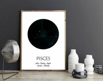 Pisces Star Sign / Pisces Constellation Print / Astrology Gifts for Pisces / Pisces Zodiac Print / Astrology Pisces Print / Pisces Print