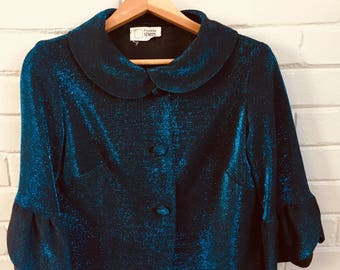 Vintage blue evening jacket 1960s by Franklin Simon & Co.