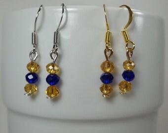 Blue & Gold earrings, mountaineer wvu inspired jewelry, wvu inspired jewelry, mountaineer inspired jewelry, west virginia jewelry