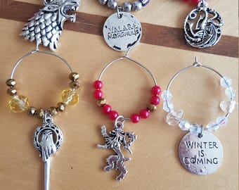 Game of Thrones Inspired Wine Charms - set of 6