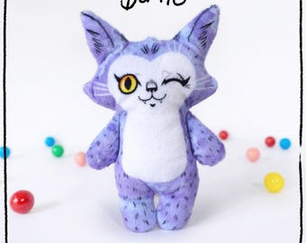 Illustrated cat doll - Bertie - Soft Minkie stuffed animal