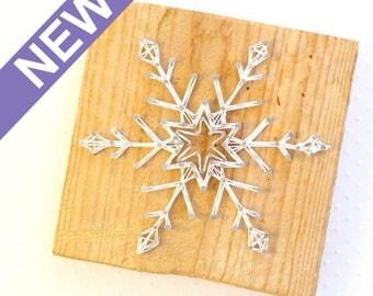 DECO String art flocon de neige sur bois