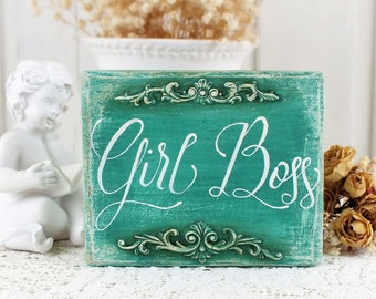 Girl Boss sign Small reclaimed wood signs Office desk accessories Business Lady art Hand lettered Gift for Girl Boss Calligraphy on wood
