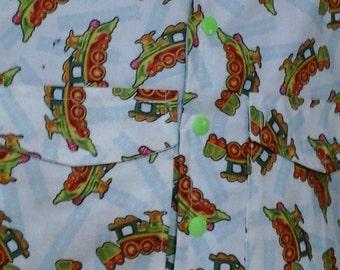 Dinosaur Train on White Cotton Fabric - 1 & 1/2 yard