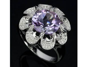 SOLID 925 Sterling Silver Ring Big Large Huge Round Amethyst 14K White Gold Plated Flower Sun US size 7 Russian Ukrainian size 17.5