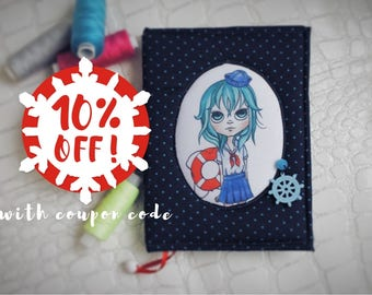 Handmade textile notebook softbook with art cover A6