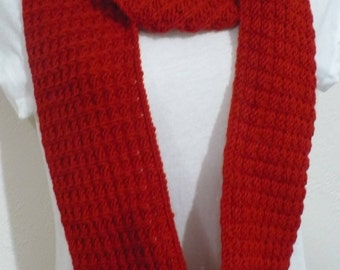 Handknit red cowl infinityscarf acrylic easy care soft readytoship easycare