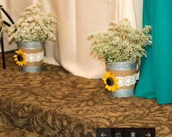 Wedding decor buckets for ceremony and reception