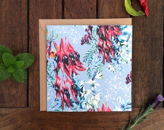 Sturt's Desert Pea & Flannel Flower Watercolour Card