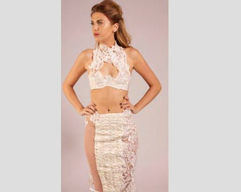 Ivory Silk and lace underwired bra with fishtail pencil skirt