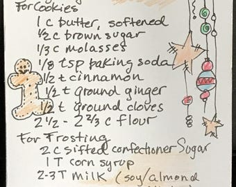 Artisan created Gingerbread Cookie Recipe card