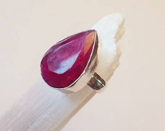 Raw Ruby Ring Ruby Crystal Ring Natural Ruby Ring Silver Ring Silver Plated size 6 statement ring
