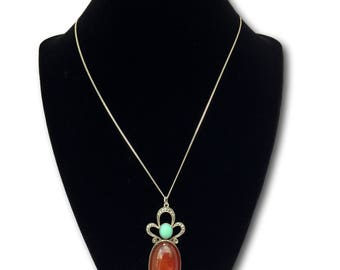 Estate Art Nouveau Carnelian Cabochon, Turquoise and Marcasite Pendant Necklace