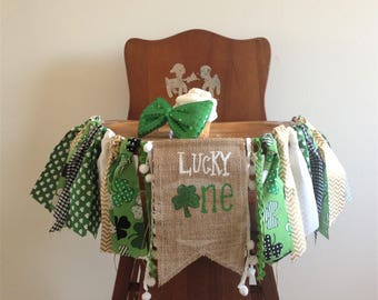 St. Patrick's Day High chair banner/Lucky little one/leprechaun lucky charm/green gold/Cake smash photo prop/First Birthday party decor