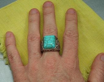 Big Blue Ring, Large Stone Ring, Turquoise Ring, Tree Ring, Howlite Ring, Ocean Ring, Aquamarine Ring, Cocktail Ring, Mermaid Ring