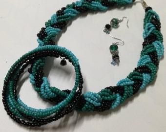 Black and turqoise earrings