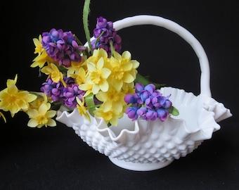 Excellent Large Fenton Hobnail Milk Glass Handled Bride's Basket 11 Inches Wide, with Authentic Original Fenton Sticker