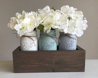 Mason Jar Centerpiece - Wedding Decor - Rustic Decor