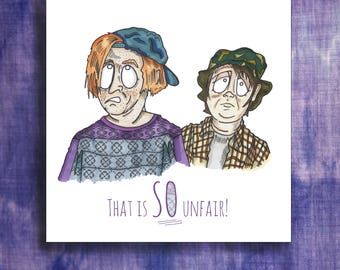 Quirky Kevin and Perry inspired card, blank inside. Hand drawn illustration of British comedy icons with quotes.