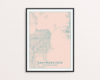 San Francisco Blush Pink City Map Print, Clean Contemporary poster fit for Ikea frame 50x70cm, gift art him her, Anniversary personalized