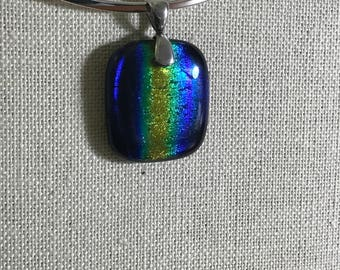 Dark Rainbow Fused Glass Necklace Sterling Silver Bail