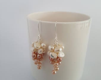Fresh water pearls, long dangle earrings, wire wrapped in silver plate.