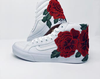 Rose Embroidered Vans, floral embroidery, vans roses, custom vans, women's sneakers, custom sneakers, rose applique, vans,gift for her,roses
