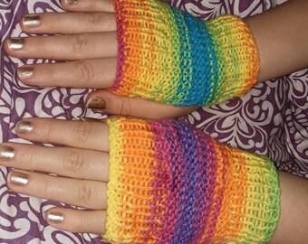 hand knitted rainbow fingerless gloves