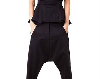 Loose pants/ Low crotch pants/ Black patoury pants/ Casual pants/ Two side pockets