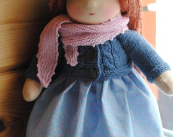 14 inches. Waldorf doll, handmade doll, tehtile doll. Ready to ship