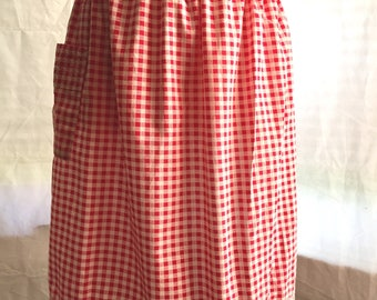 1970's Red and White gingham apron