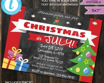 Christmas in July Invitation- Xmas- Summer Party- Summer Beach Christmas July Party-  Personalize Custom Printable INSTANT Self-EDITABLE 5x7