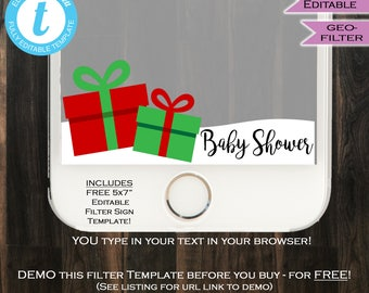 Christmas Baby Shower Snapchat Geofilter Present Baby Shower Filter Snow Girl Boy Neutral Party Personal Custom Digital INSTANT SelfEDITABLE