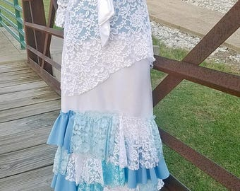 Girls Mixed Up Lace Ruffle Set (w/ Hankerchief Lace Top & Skirt)