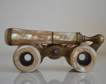 Antique Theatre Binoculars Mother of pearl. Colmont Paris. c1880s