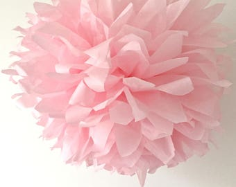 pale baby pink / tissue paper pom pom / diy / wedding decor / nursery / yellow pom pom flower