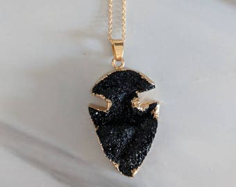 Black Agate Arrowhead Geode Crystal Necklace.