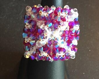 Handmade filigree ring with Swarovski crystals and silver grains 0925