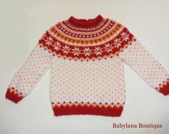 Newborn nordic sweater, Norwegian sweater baby, handmade knitted baby jumper in pure merino wool, fair isle, kid jumper
